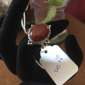 Oval Sienna and Silver-plate Ring